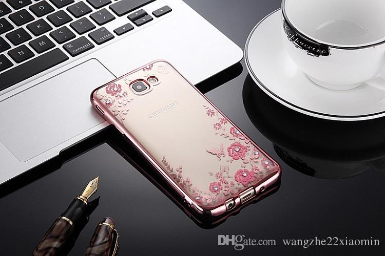 Nouveau style or plaqué TPU fleur jardin cas pour Samsung s6 s6 bord Glitter Bling diamant ultra mince protecteur Cover Case