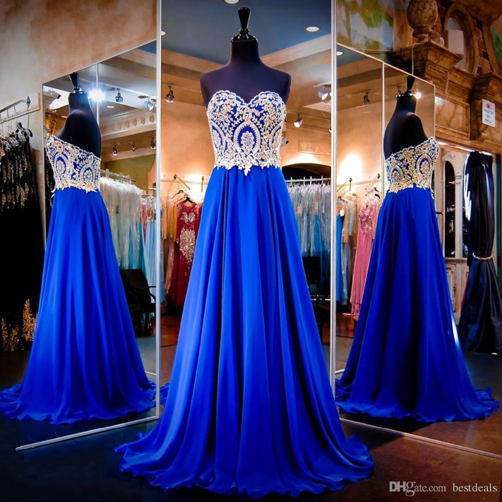Royal Blue Prom Dresses 2017 Sweetheart Backless Gold Applique di cristallo ultimi disegni abito da sera economici Vestido de festa
