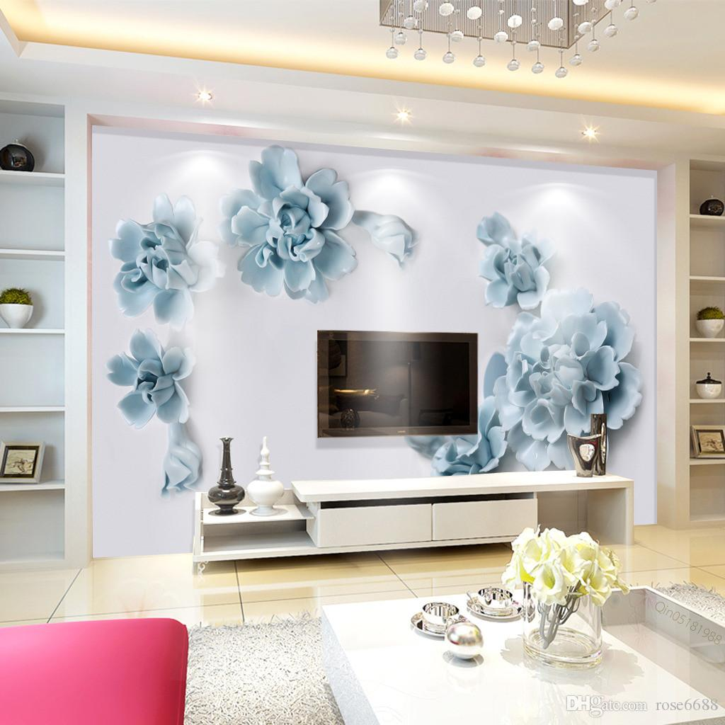 Fashion 3d Home Decor Beautiful Modern Wallpaper For Living Room Blue  Relief Flower Custom Wallpaper Images As Wallpaper Images For Wallpaper  From Rose6688, ...