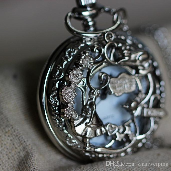 Alice in wonderland pocket watch necklace pendant mens jewelry girl alice in wonderland pocket watch necklace pendant mens jewelry girl cat rabbit teapot rattan garden c353w automatic watches diamond watches from aloadofball Choice Image