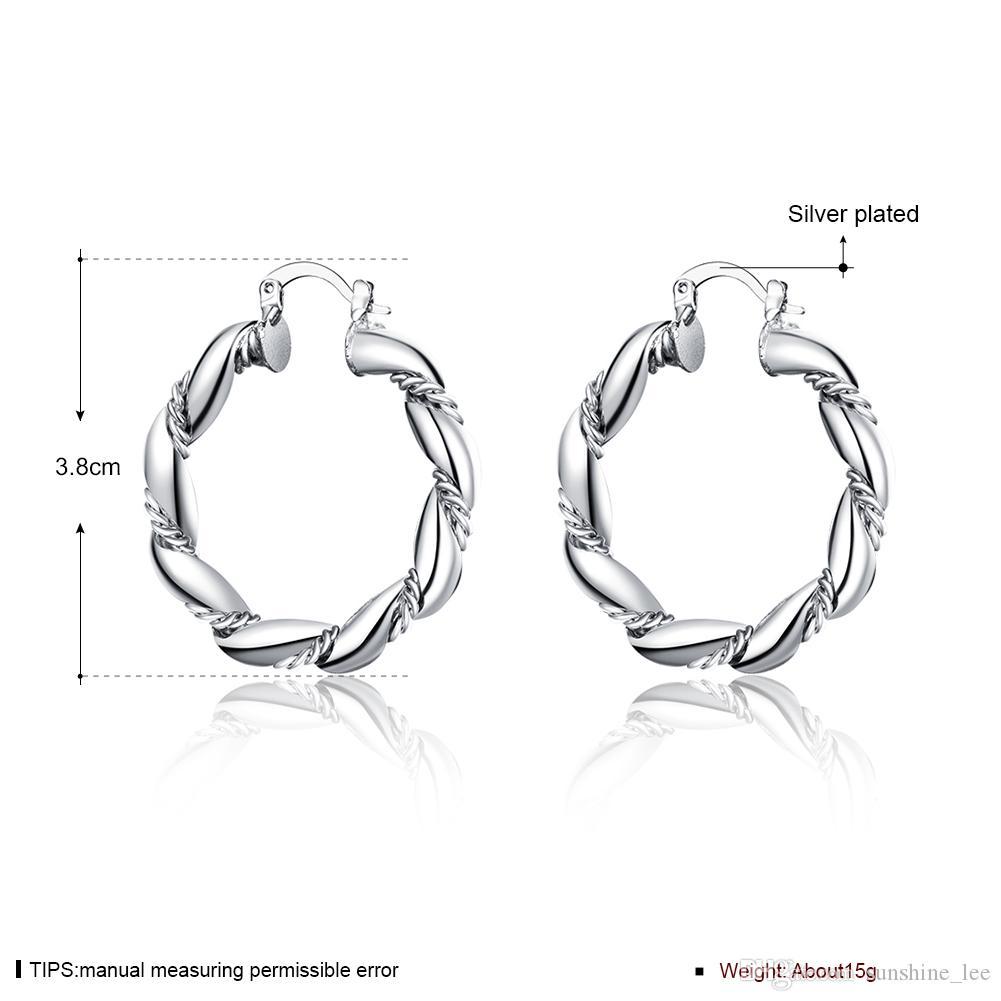 Arbeiten Sie 925 Silber überzogene Schmuck-große Torsion-Kreis-Frauen-enorme Band-Ohrringe, die Party-Partei-Ohrring-freies Verschiffen um