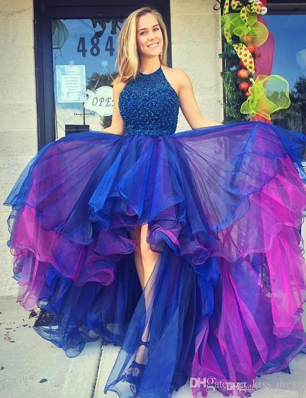 Royal Blue and Purple Princess Prom Dresses High Low Luxury Beaded Crystal Organza Halter Formal Evening Party Gowns 2019 New Design P161