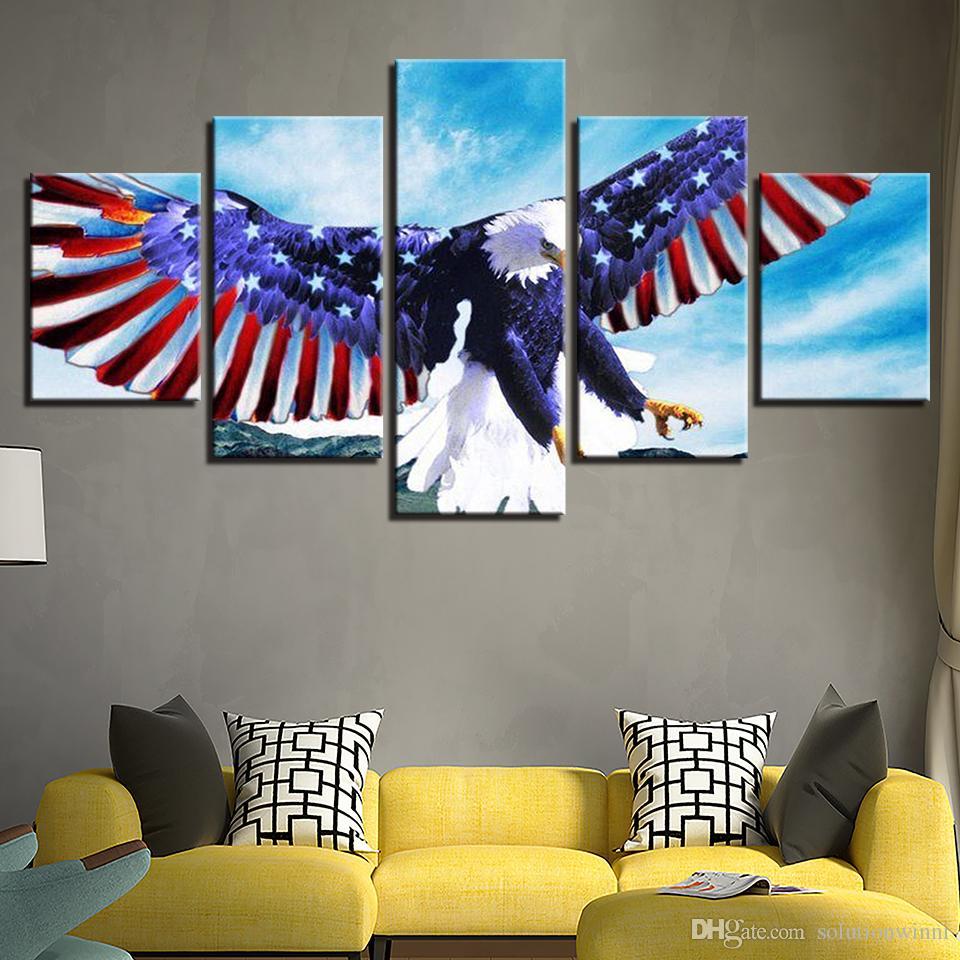 Bandera Nacional de la decoración del arte de la lona del cartel pared del hogar 5 Panel de Eagle Para la sala de estar moderna de alta definición Impreso cuadros Capítulo Pintura