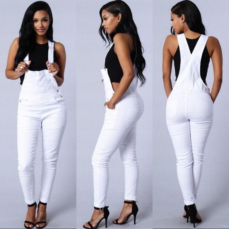 8f10b4df4 Compre Novo 2016 Moda Macacão Mulheres Stretch Algodão Skinny Sexy Branco  Jeans Macacão Mulher Exército Verde Macacão Playsuits M102 De Akaya