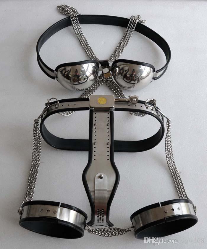 Female Bondage Gear Stainless Steel Collar Bra Chastity Belt Device Thigh Wrist Ankle Set Bondage Set BDSM Sex Toy