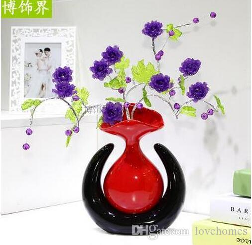Modern Lucky eggs five Shapes Ceramic Vase for Home Decor Tabletop this pirce is for a set vase and flowers together