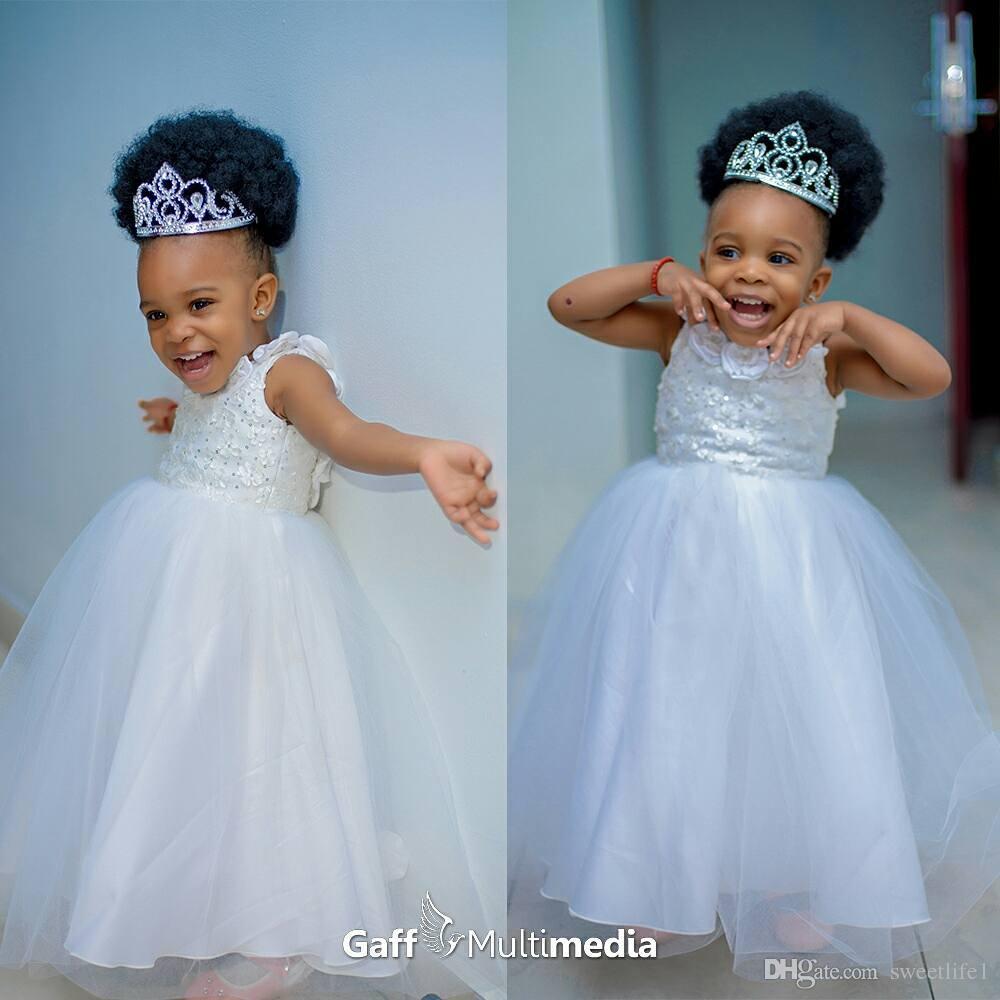 Cute White Beaded Flower Girls Dresses For Wedding Jewel Neck Tulle ...