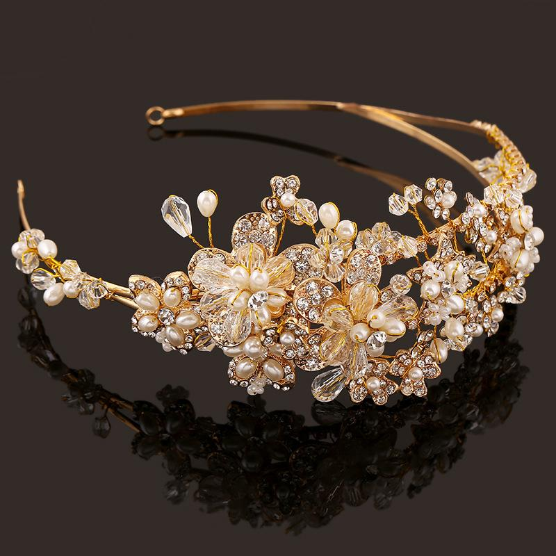 Western Wedding Hair Accessories Jewelry Handmade Gold Crystal Pearl
