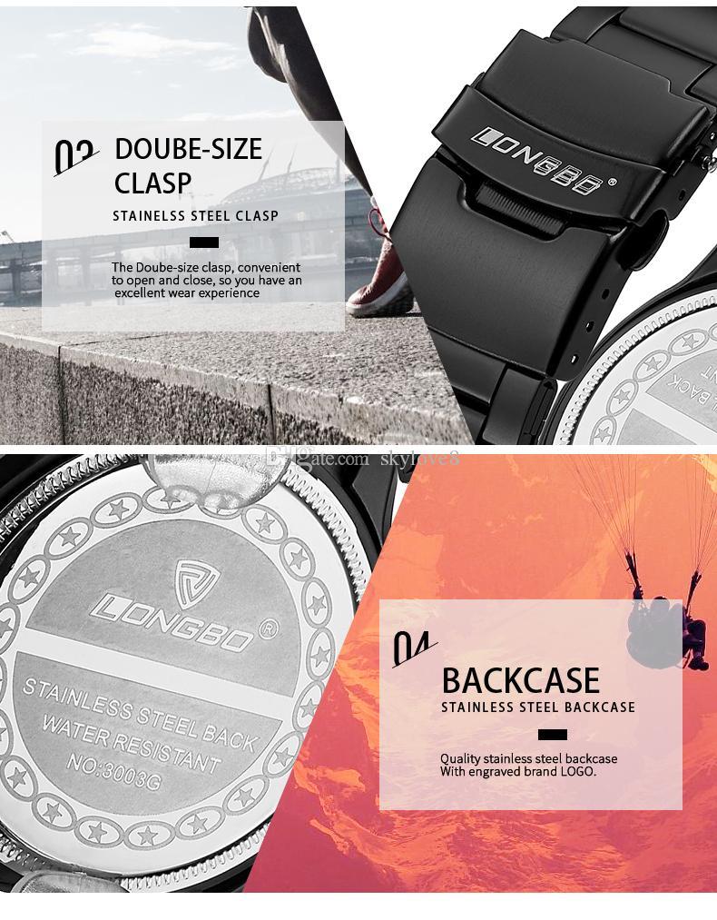 Skylove8 Brand stores LONGBO hombres de negocios de lujo reloj de lujo correa de reloj reloj de cuarzo resistente al agua de los hombres reloj de los estudiantes