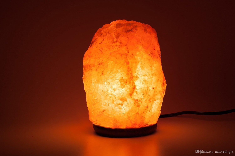 Himalaya Glow El Oyma Doğal Kristal Himalaya Tuz Lambası Ile Hakiki Ahşap Taban, Ampul Ve Açık ve Kapalı Anahtarı