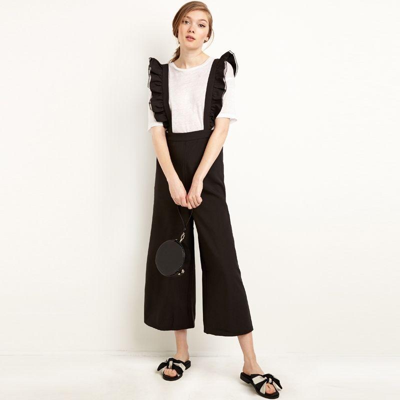 5c74f25fd43a 2019 Wholesale Jumpsuit Women Autumn Fashion Soild Black Ruffles Strap Wide  Leg Casual Rompers Overalls Bodysuit Braces Pants From Roberr