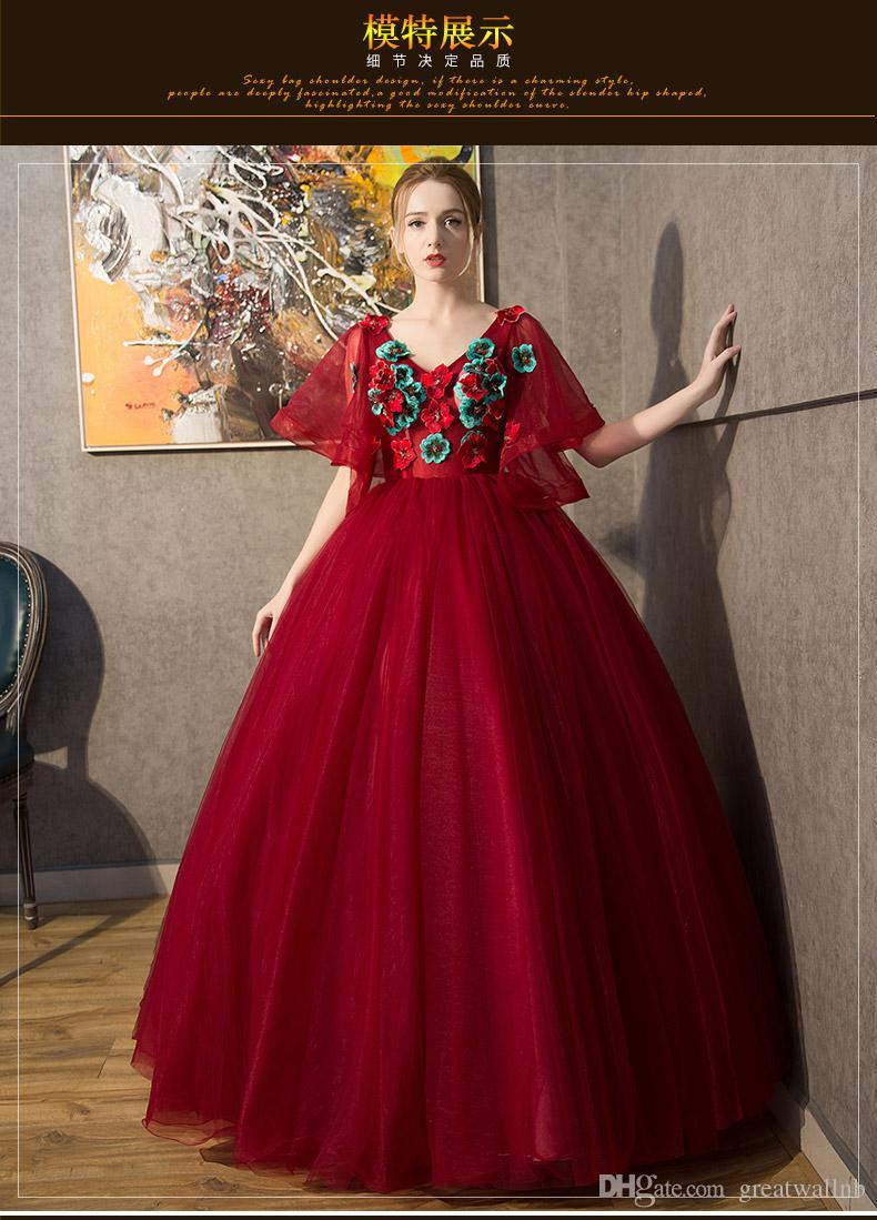 Wine Red Butterfly Sleeve Embroidery Ball Gown Medieval ...