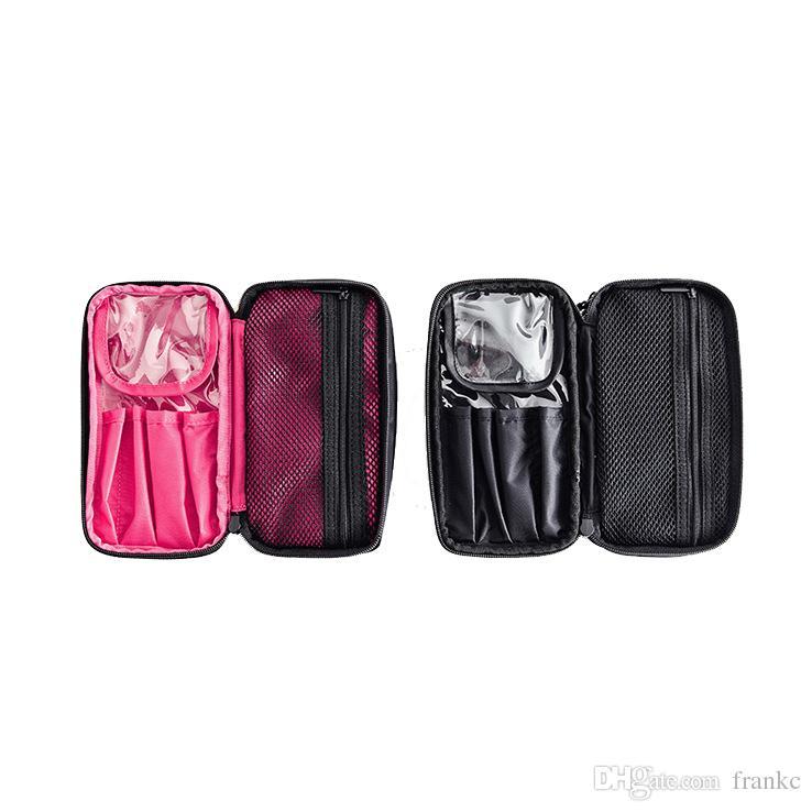 China Fashion Makeup Bags Pouch European Style Double Open Zipper Black Women Waterproof Nylon Cosmetic Bag Cosmetics Organizer Cases