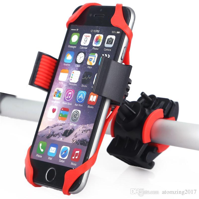 Evrensel Bisiklet Motosiklet Gidon Tutucu Bisiklet Ayarlanabilir Cep Telefonu Dağı Silikon Sahipleri Için iphone 7 Samsung s8 cep Telefonu