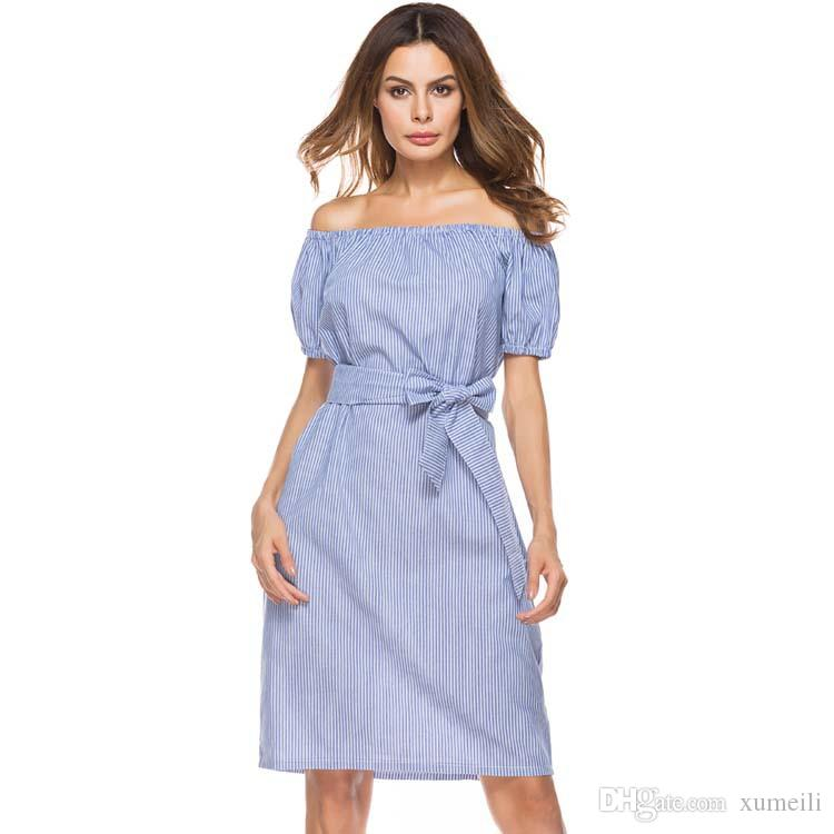 Europe and the United States foreign trade new summer stripe collar dress sexy Strapless Lace Long Skirt