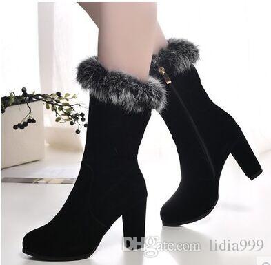 Black New Arrival Hot Sale Specials Super Fashion Influx Warm Winter Side Zip Fur Cotton Cheap Knight Platform Noble Heels Boots EU34-39 wide range of cheap price explore u2xtY1