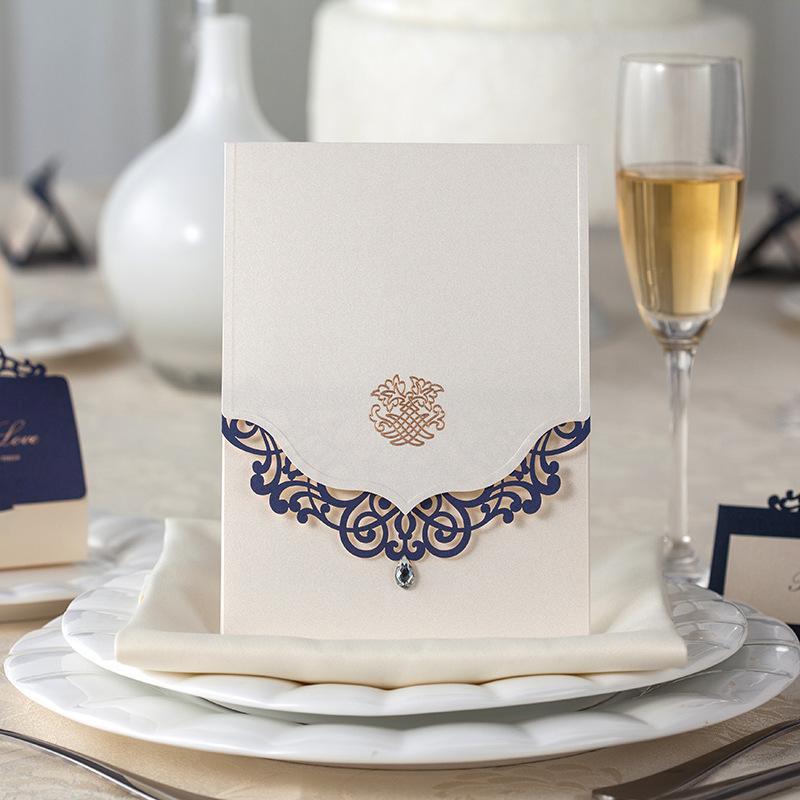 Wholesale Wholesale Royal Blue Crystal Diamond Laser Cut Wedding