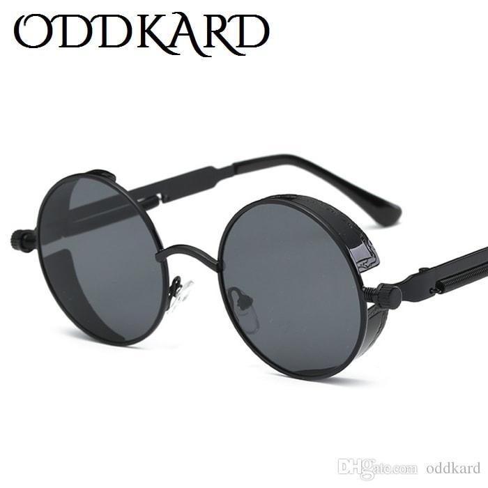 2ea327fa7 ODDKARD Retro Steampunk Sunglasses For Men And Women Brand Designer Round  Fashion Sun Glasses Oculos De Sol UV400 Online Eyeglasses Discount  Sunglasses From ...