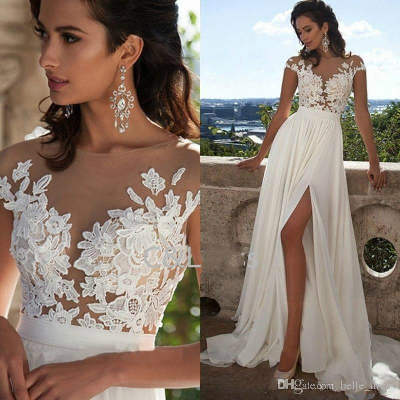 Discount Fashion Elegant Lace Long Beach Wedding Dresses 2017 New