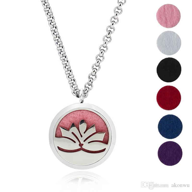 """Essential Oil Diffuser Necklace Aromatherapy Jewelry-30mm Hypoallergenic 316L Stainless Steel With 24""""Chain And 6 Washable Insert Pads"""