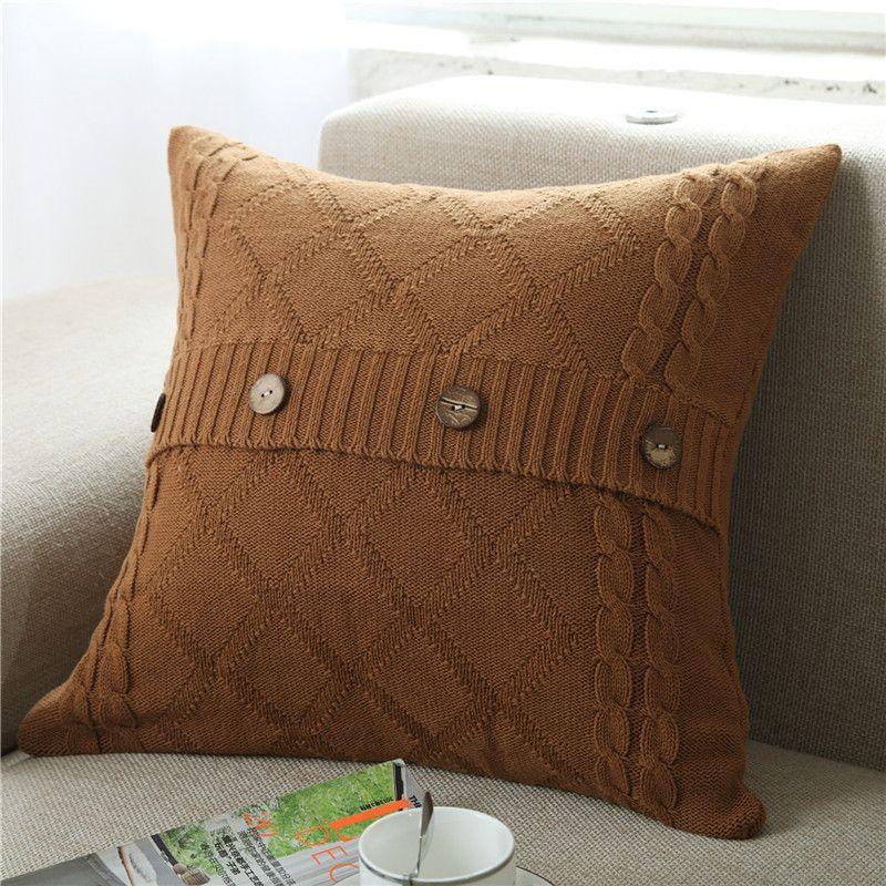 100% Cotton Pillow Case Fashon Knitting Square Pillow Cover Home Sofa Car Decor Cushion 10 Style 45*45cm Gift