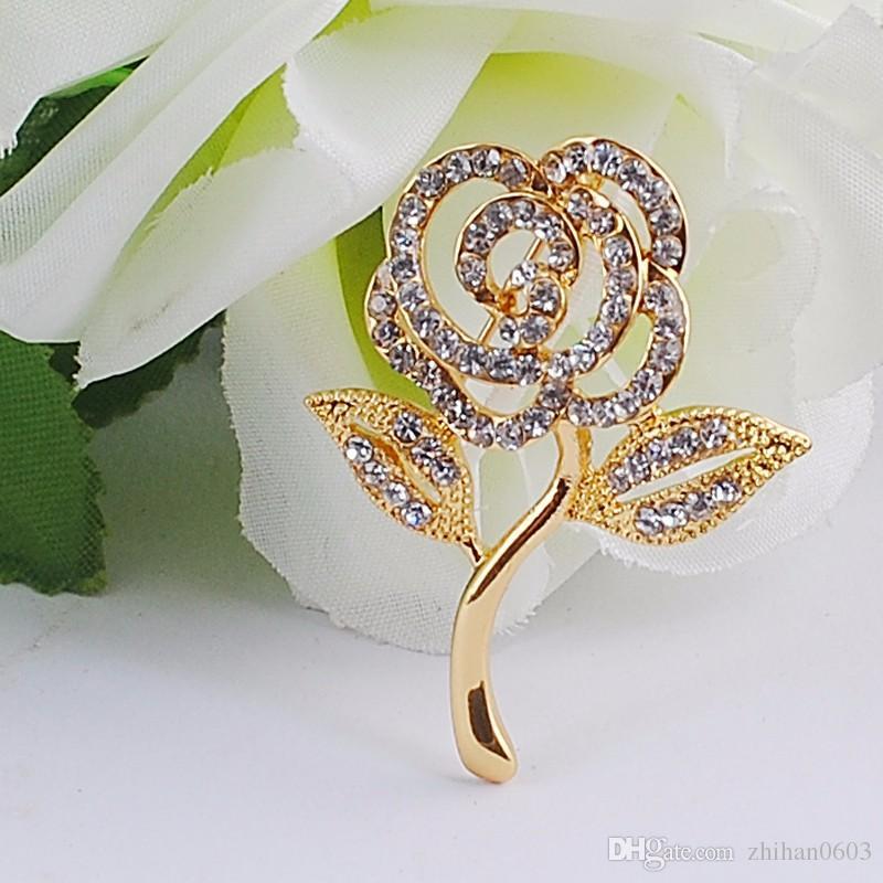 Chegada nova Cristal Rose Broche Banhado A Ouro Elegante Broches Pinos Bonito Moda Jóias Strass Broches