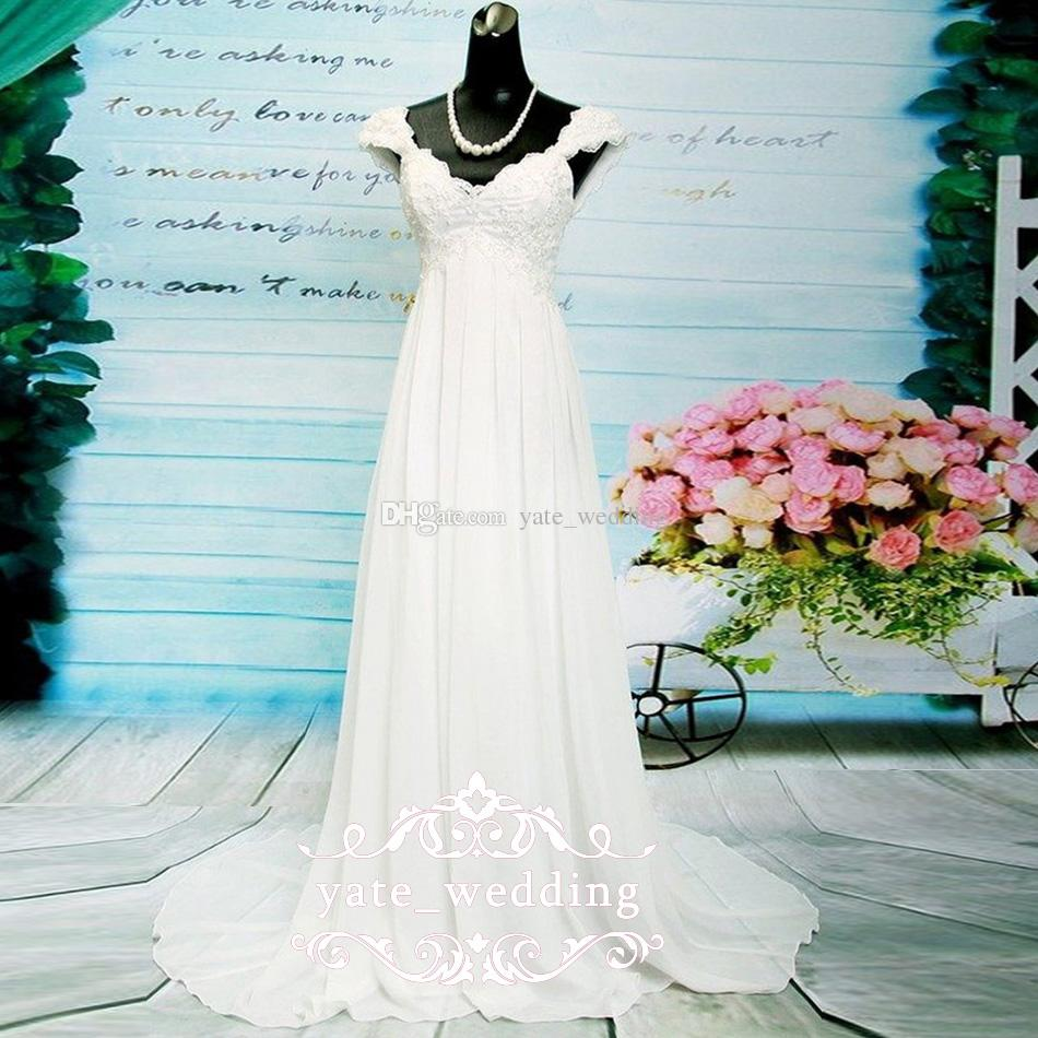 Discount 2018 Newest Chiffon Empire Wedding Dresses V Neck Cap ...