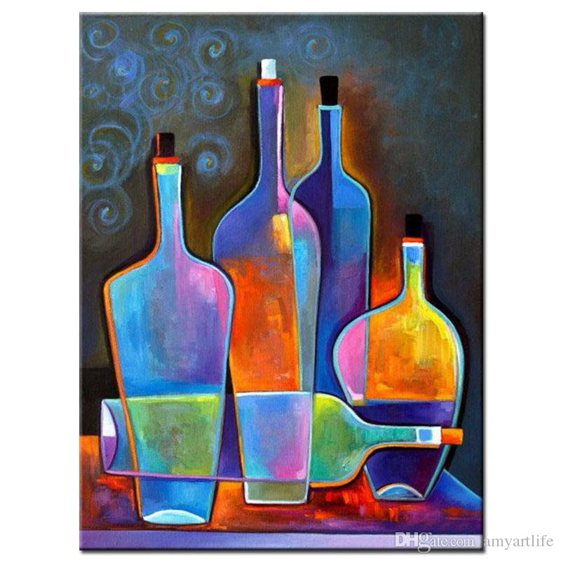 bottle art painting  2018 Hand Painted Modern Still Life Painting Coloring Bright Wine ...