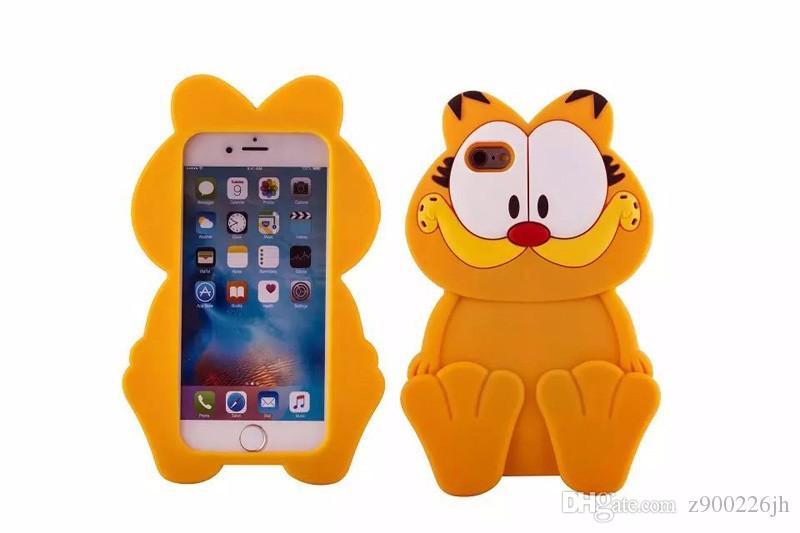 Couvertures De Cas De Téléphone De Silicone De Garfield Danimal De Bande Dessinée 3D Pour LiPhone 6 6s Plus La Coquille Arrière De Téléphone Portable ...