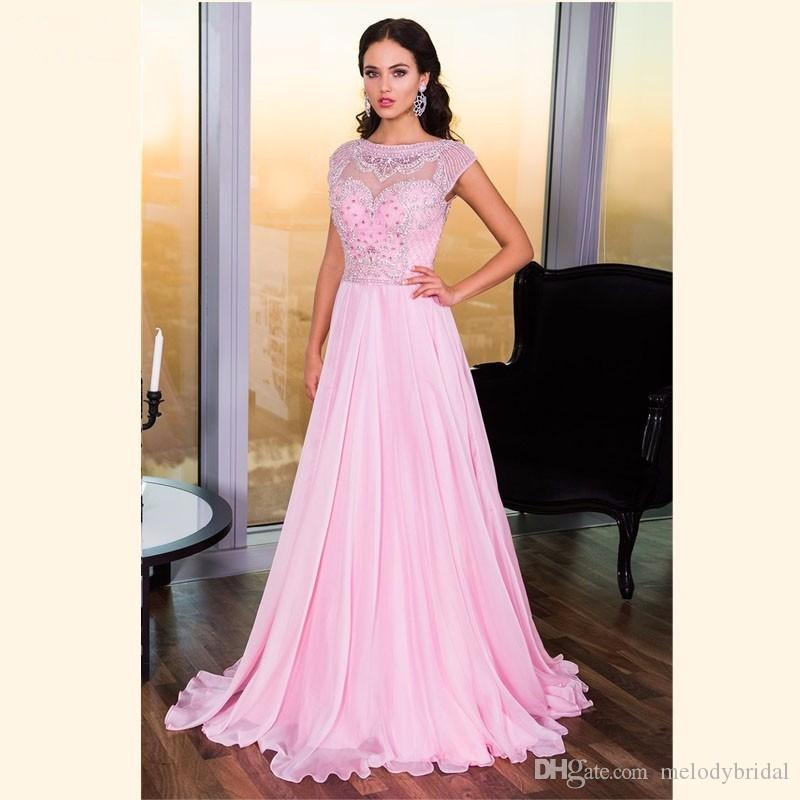 Long Pink Evening Dresses Party For Party Crystal Beaded Backless ...
