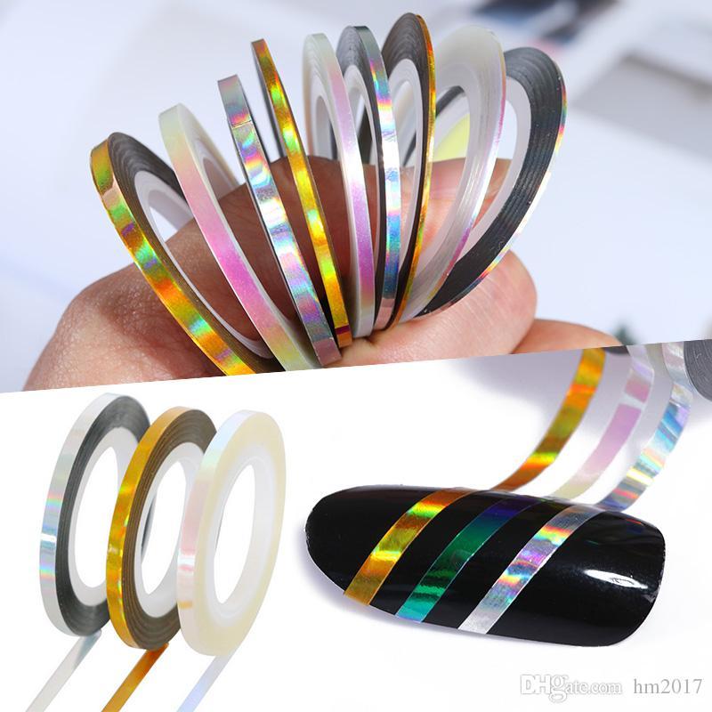 30 롤 홀로 그래픽 네일 라인 데칼 세트 스트 라이프 테이프 1mm 접착 레이저 매니큐어 네일 장식 스티커
