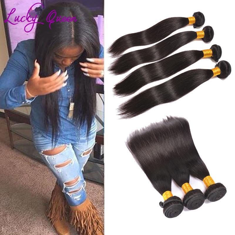 Sin procesar Remy Cabello humano peruano Virgen recta Lucky Queen Extensión de cabello Envío gratuito peruano paquetes de cabello liso 8A