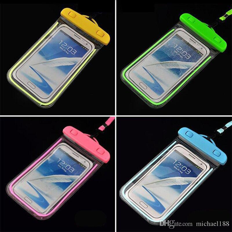 Sealed Waterproof Phone Case Bag Pouch Luminous Phone Cases For Xiaomi iPhone 6 7 Plus 5S 5C 5 Samsung Galaxy S6 S5 S4 S7 S8 G-SW