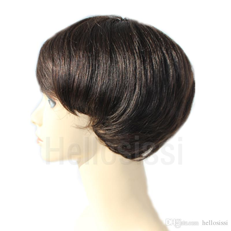 Full lace human hair wigs for black women best quality pixie half hairstyle short none lace wig for african