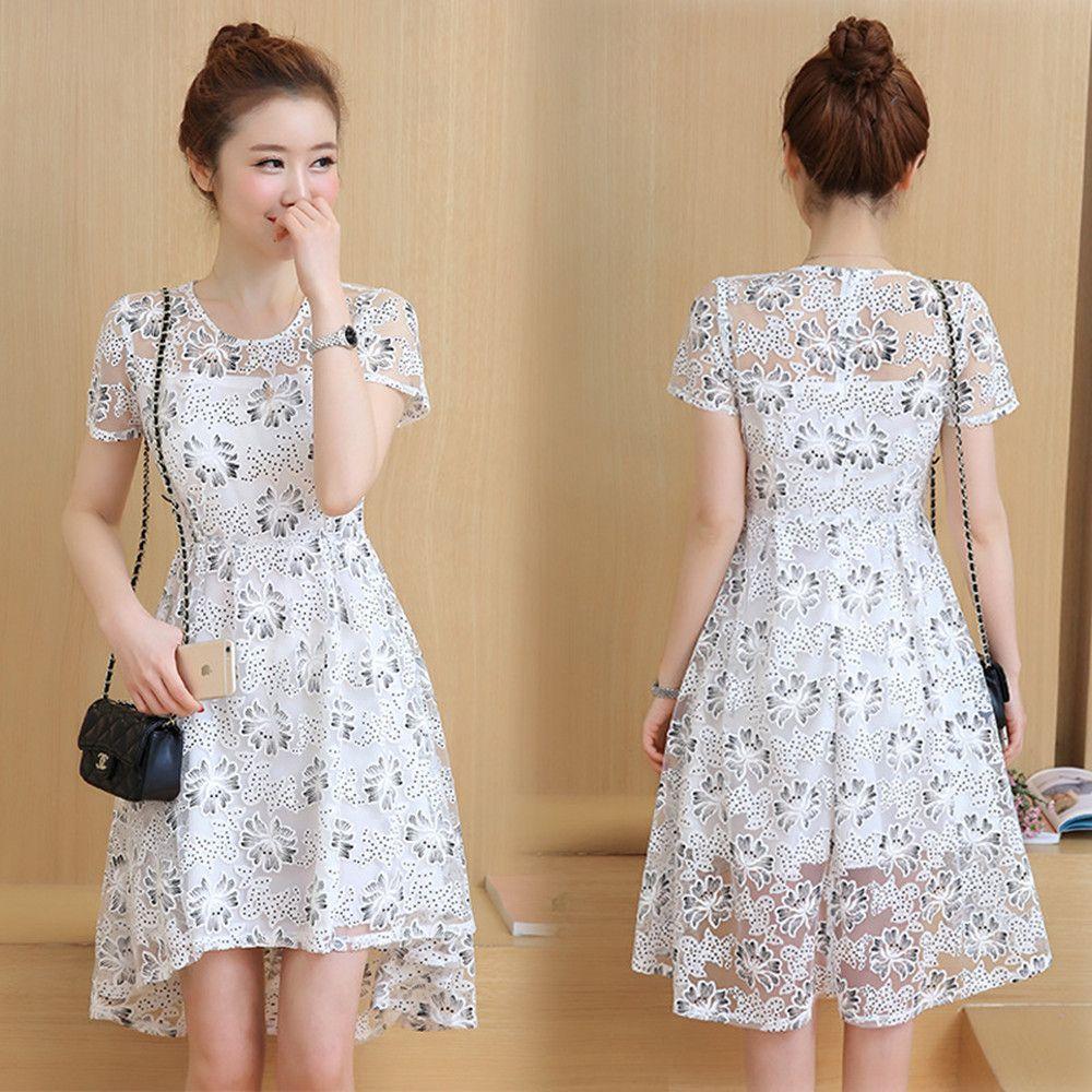 Korean Fashion Women Girls Cute Sweet Round Neck Lace Short Sleeve ...