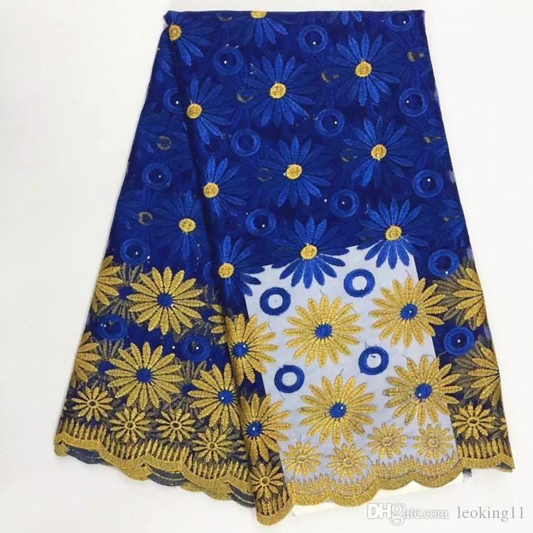 5 야드 / PC 새로운 패션 로얄 블루와 골드 플라워 디자인 프랑스 그물 레이스 패브릭 아프리카 메쉬 레이스 파티 옷 BN53-4