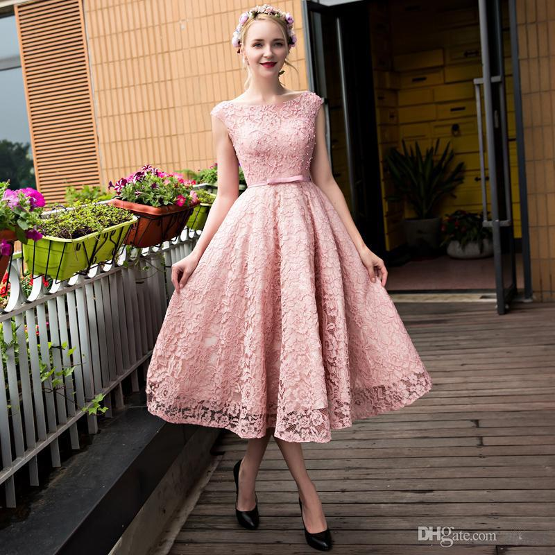 Cheap Plus Size Prom Dresses Dirty Pink Lace Capped Sleeves Tea ...