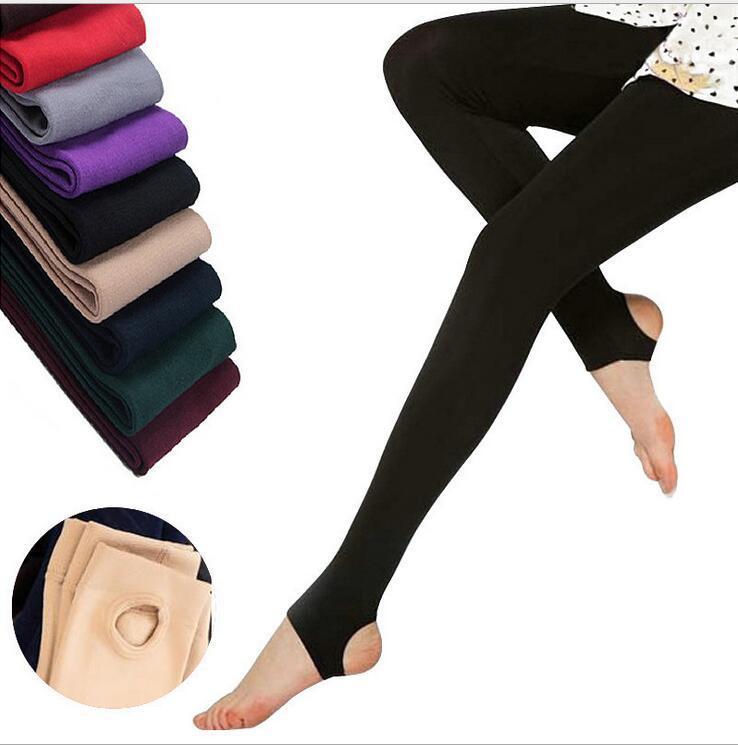 Leggings in pile da donna di alta qualità addensare inverno Super Elastico colore Soild Leggings sottili Casual Faux Velvet lunghezza alla caviglia Legging lavorato a maglia