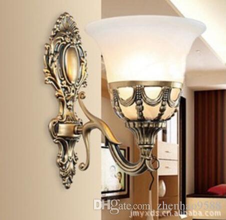 Tek duvar aydınlatma yatak odası duvar lambaları cam gölge duvar aplikleri ayna aydınlatma antika bronz