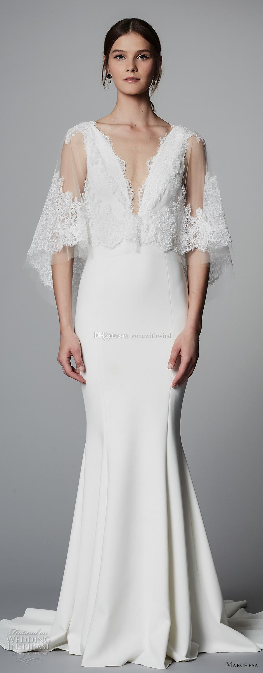 Elegant Fit And Flare Half Bell Sleeves Wedding Dresses 2018 Marchesa Bridal Deep V Neck Heavily Embellished Bodice Sweep Train Gowns With