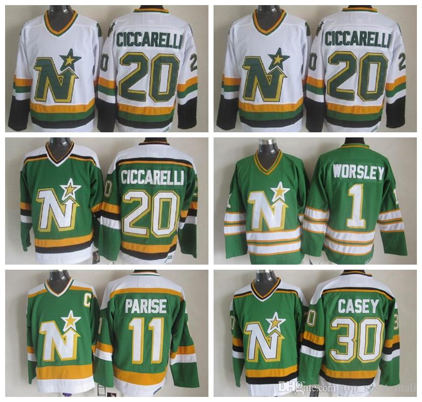 2019 Men 20 Dino Ciccarelli Jersey Dallas Stars Ice Hockey 1 Gump Worsley  11 J.P. PARISE 30 Jon Casey Vintage CCM Green White Jerseys From  Top sport mall f0e5945243b