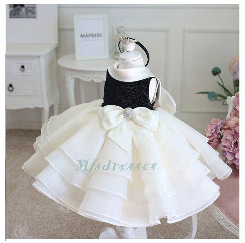2017 nero avorio arruffato fiore ragazza abiti da tè lunghezza bambini vestito bambino neonato vestito ragazze festa di compleanno battesimo abiti da comunione