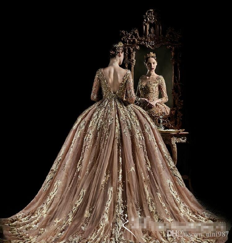 Kraliyet evi Vintage Uzun Kollu Gelinlikler 2017 Yüksek Kalite Gelin Parti Elbise Büyük balo Altın gelinlik Dantel Vestido De Novia