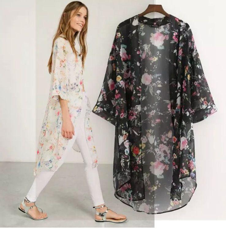 Damen New Floral bedruckte Chiffonhemden Lässige Bluse Vintage Kimono Cardigan Plus Size Long Shirt
