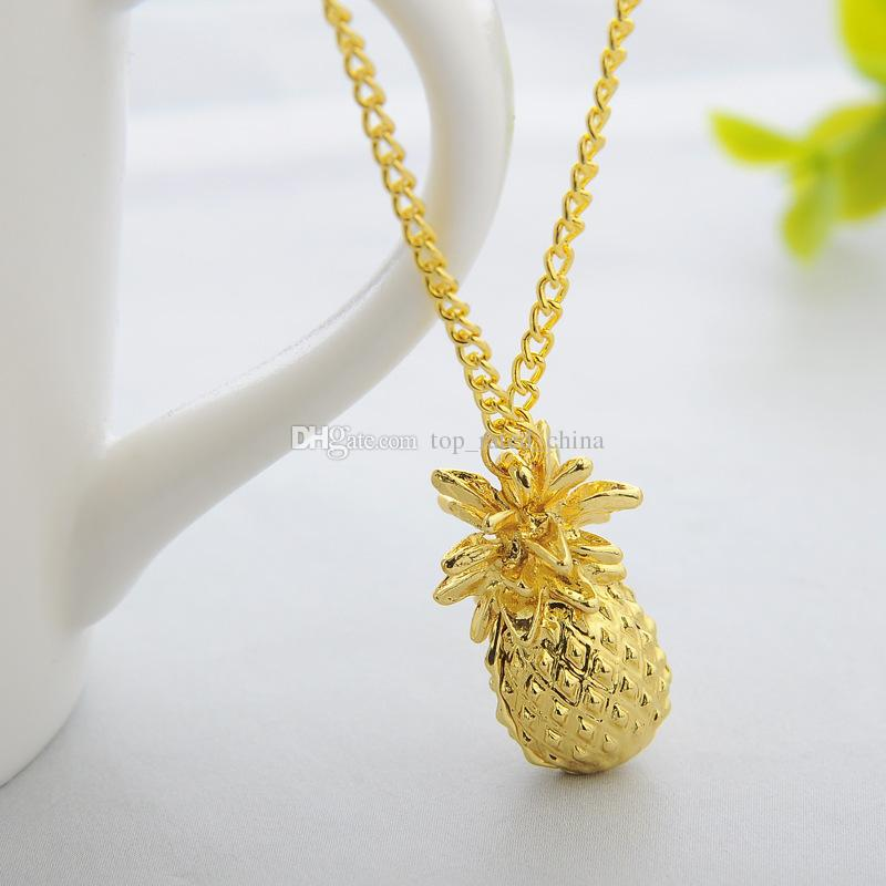 Fashion Gold Plated creativity Individuality Fruit Ananas Pendant Necklace For Women Lady jewelry XL640