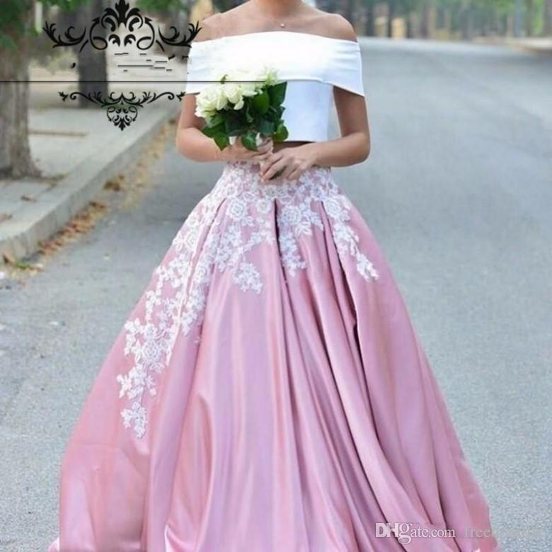 White And Pink Two Pieces Prom Dresses 2017 Puffy Skirt Applique