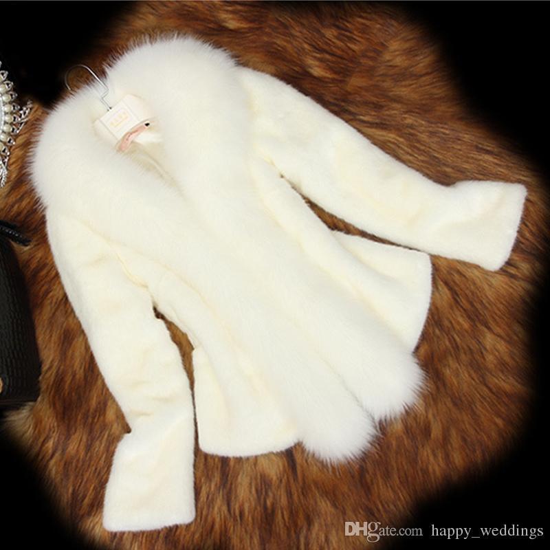 Neue Ankunft 2018 Frauen Pelz Weißer Mantel mit Faux Fox Pelzkragen Weibliche Schwarz Künstliche Mantel