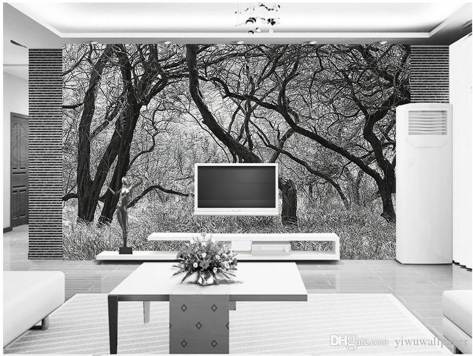 Alberi in bianco e nero con affreschi murale carta da parati 3d carte da parati 3d sfondo tv