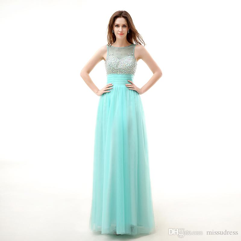 0f6d015be008 Light Green Crystal Sheer Neck Luxury Prom Dress Sweetheart Colorful  Crystals Sexy Prom Gown Tulle Pleated Draped Evening Gown Prom Dresses 2010  Prom ...