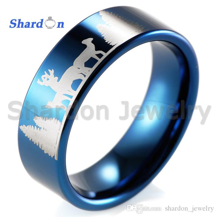 Shardon Reindeer Deer Stag Ring Blue Pipe New Tungsten Comfort Fit